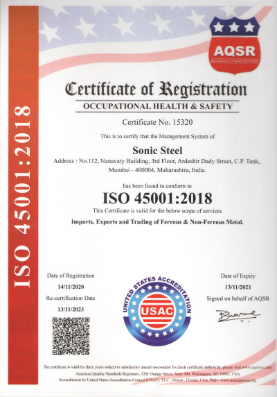 ISO 45001:2018 Certificate